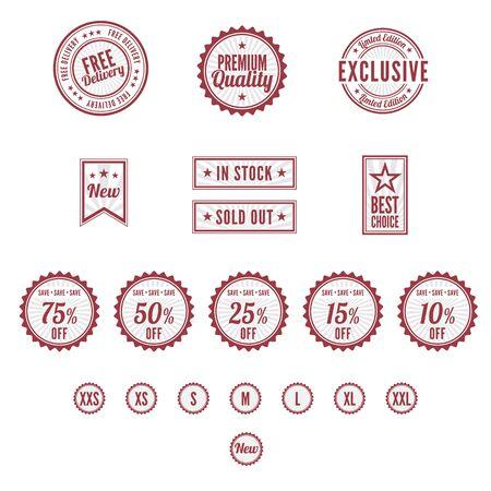 バッジや切手のセット  イラスト・ベクター素材