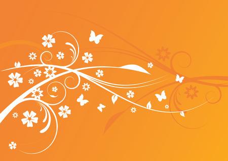 orange swirl: Floral Background Design Illustration