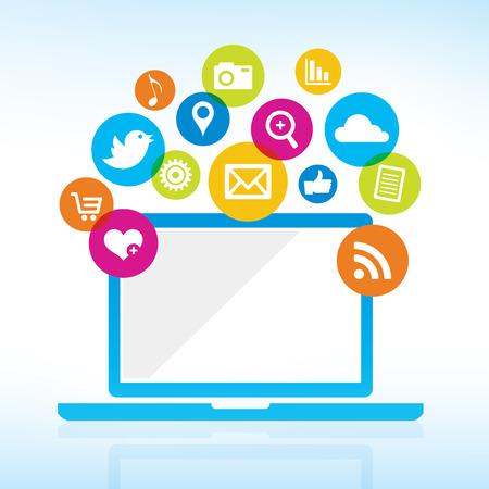 interaccion social: Compartiendo Online - Ordenador con iconos de medios
