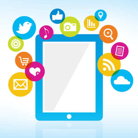 Online Sharing - Tablet with media icons Illustration