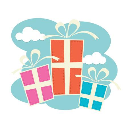 bautizo: Tres cajas de regalo en azul, rosa y naranja