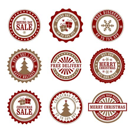 gold seal: Christmas & Boxing Day Retail Badges Illustration