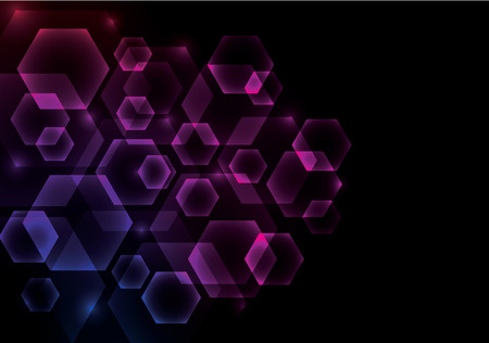 overlapping: Glowing Abstract Background with Hexagons