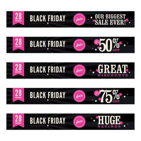 pink and black background: 5 website banners advertising a Black Friday sale.