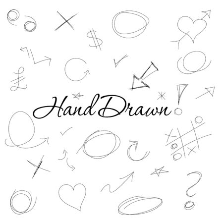 sketched arrows: A set of hand drawn symbols and designs Illustration