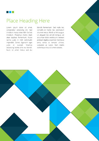 blue and green: Abstract Brochure Design with Squares Illustration