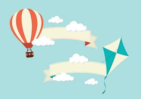 kites: Hot Air Balloon  Kite with Banners Illustration