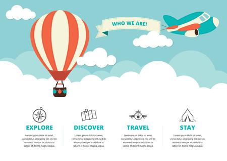 wolkenhimmel: Website-Layout mit einem Heißluftballon einer Ebene und Reise-Ikonen Illustration