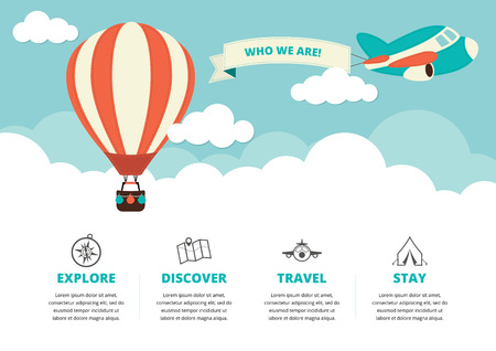 Website layout with a hot air balloon a plane and travel icons Çizim
