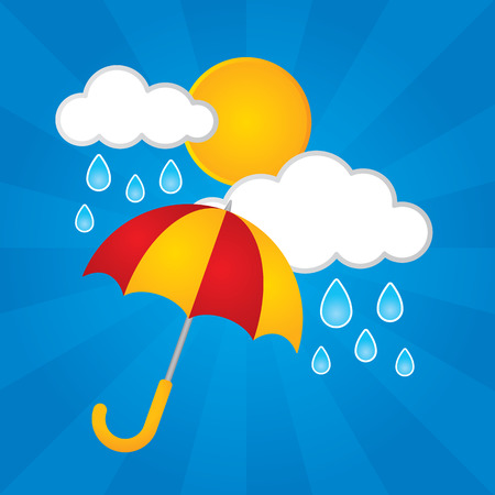 Sun clouds rain and an umbrella Stock Illustratie