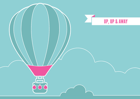 hot line: An illustration of a hot air balloon and clouds