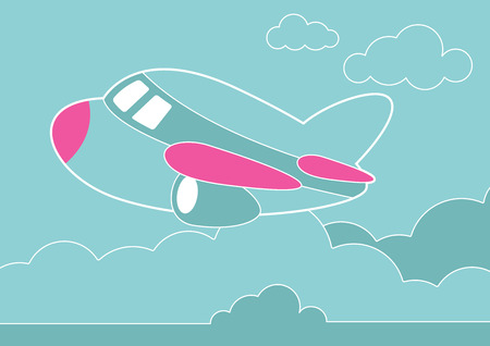 commuting: An illustration of a plane in the clouds