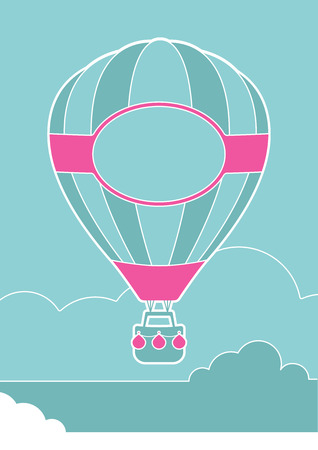 An illustration of a hot air balloon and clouds Ilustração