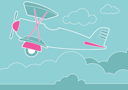 An illustration of a plane in the clouds