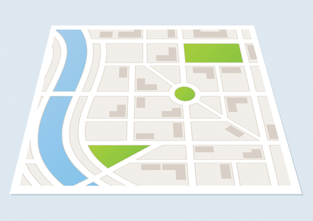 populated: A city map showing roads and buildings Illustration
