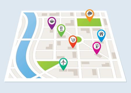 mappa: Una mappa della città che mostra le strade ed edifici Vettoriali