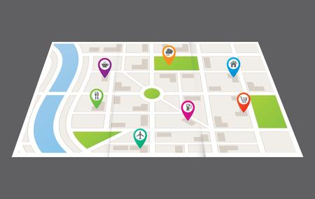navegacion: Un mapa de la ciudad que muestra las carreteras y edificios Vectores