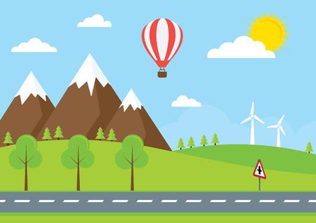 nubes caricatura: Un camino del campo con una señal de tráfico británica Vectores