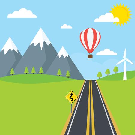 Una strada di campagna con alberi e montagne