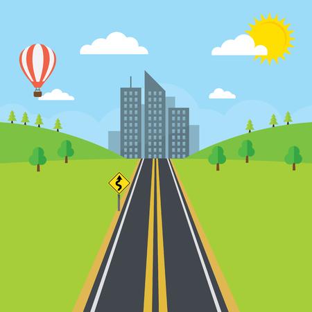 nubes caricatura: Una carretera en dirección a una ciudad