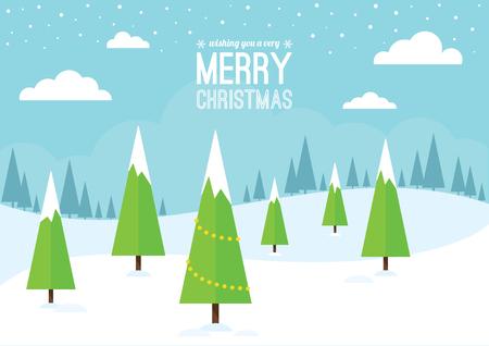 landschaft: Eine verschneite Winterlandschaft mit Weihnachtsbäumen. Illustration