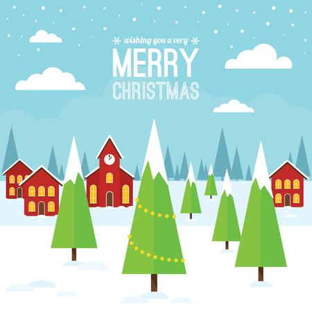 christmas scene: A Christmas scene with houses and a church.