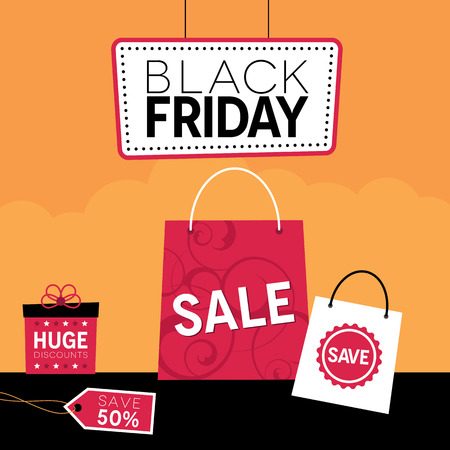 discounted: Black Friday design with shopping bags and gift box Illustration