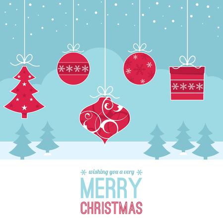 adornos navide�os: Un conjunto de decoraciones de Navidad contra una escena de invierno con �rboles