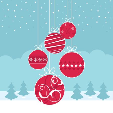 Ein Satz von Christbaumkugeln gegen eine Winterszene mit Bäumen Standard-Bild - 46523867