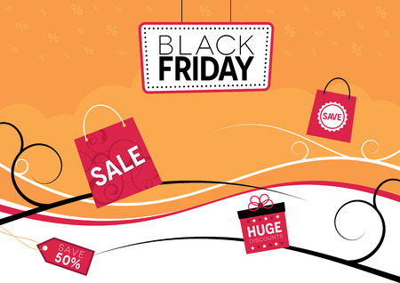 sale tag: Black Friday design with shopping bags and gift box Illustration