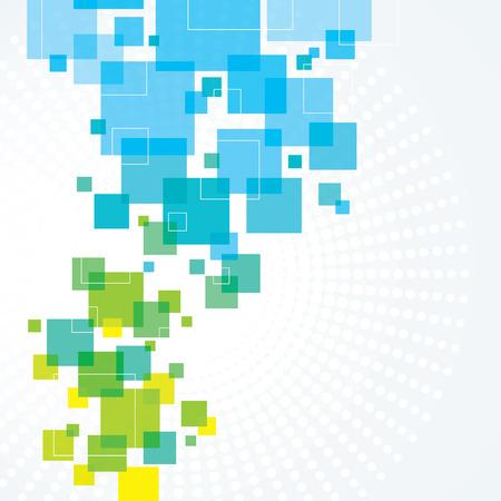 Ein blauer und grüner abstrakter Hintergrund Design mit Quadraten Standard-Bild - 48130522