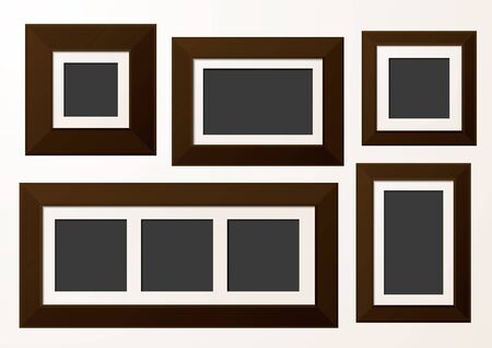 wall mounted: A set of gallery photo frames with card mount