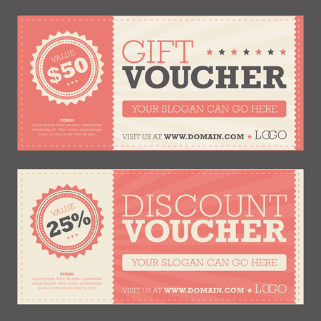 Retail promotional gift and discount voucher Stock Illustratie
