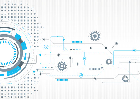 A modern technical design with cogs and a network theme Illustration