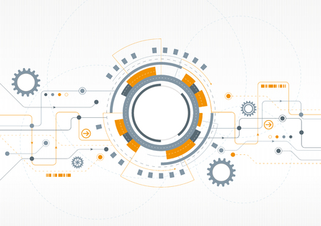 arrow circles: A modern technical design with cogs and a network theme Illustration