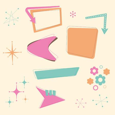 Un conjunto de elementos de diseño retro años 50 con temas