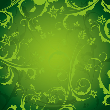 ornate background: A green, ornate background with an abstract floral design