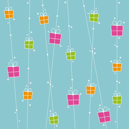 occassion: Background with orange, pink and green gift boxes and stars.