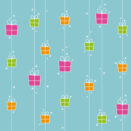 wrapped gift: Seamless background with orange, pink and green gift boxes and stars.