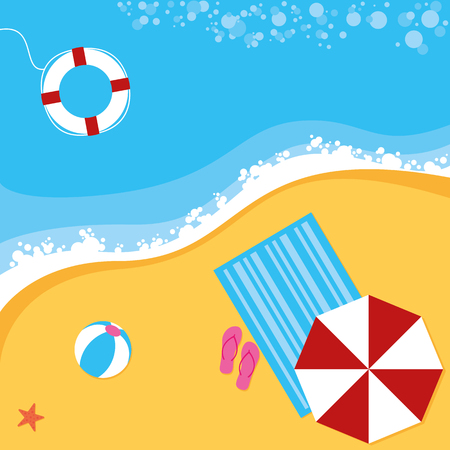 beach scene: A summer beach scene with sun parasol, towel, ball and life ring Illustration