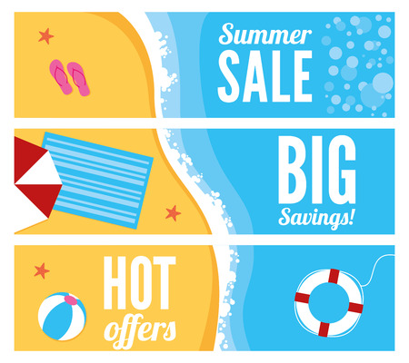 A summer beach banners with sun parasol, towel, ball and life ring