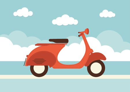 An illustration of a vintage style scooter Illustration