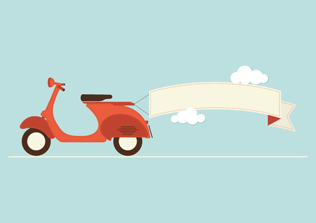 passanger: An illustration of a vintage style scooter with banner