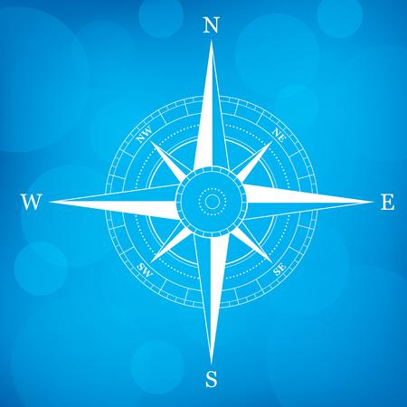navigational: A navigational compass on a blue background