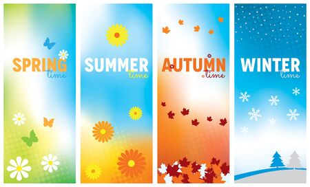 A set of seasonal banners for Spring, Summer, Autumn and Winter