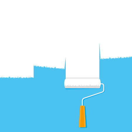 blue roller: A paint roller with white paint on a blue background Illustration