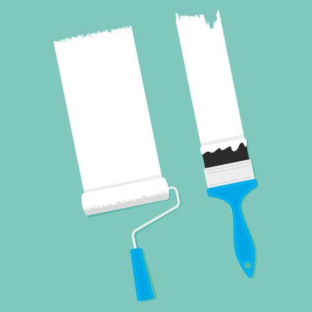 brush paint: A paint roller and paint brush on a green background