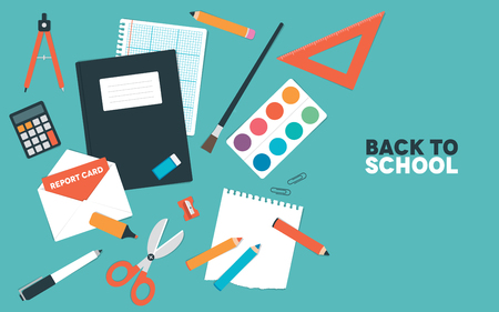jotter: A set of objects used in school. Illustration