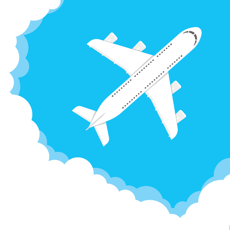 Vector illustration of a airplane flying in a cloudy sky Ilustração