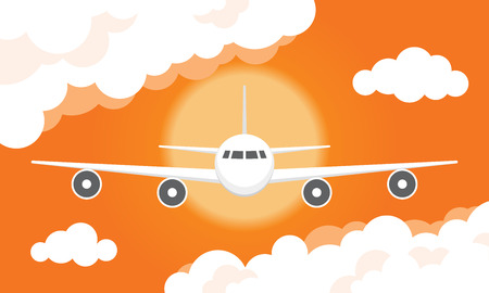 Vector illustration of a airplane flying in a cloudy sunset sky Illustration